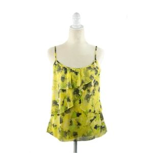 New York & Company Yellow Floral Tank Top M